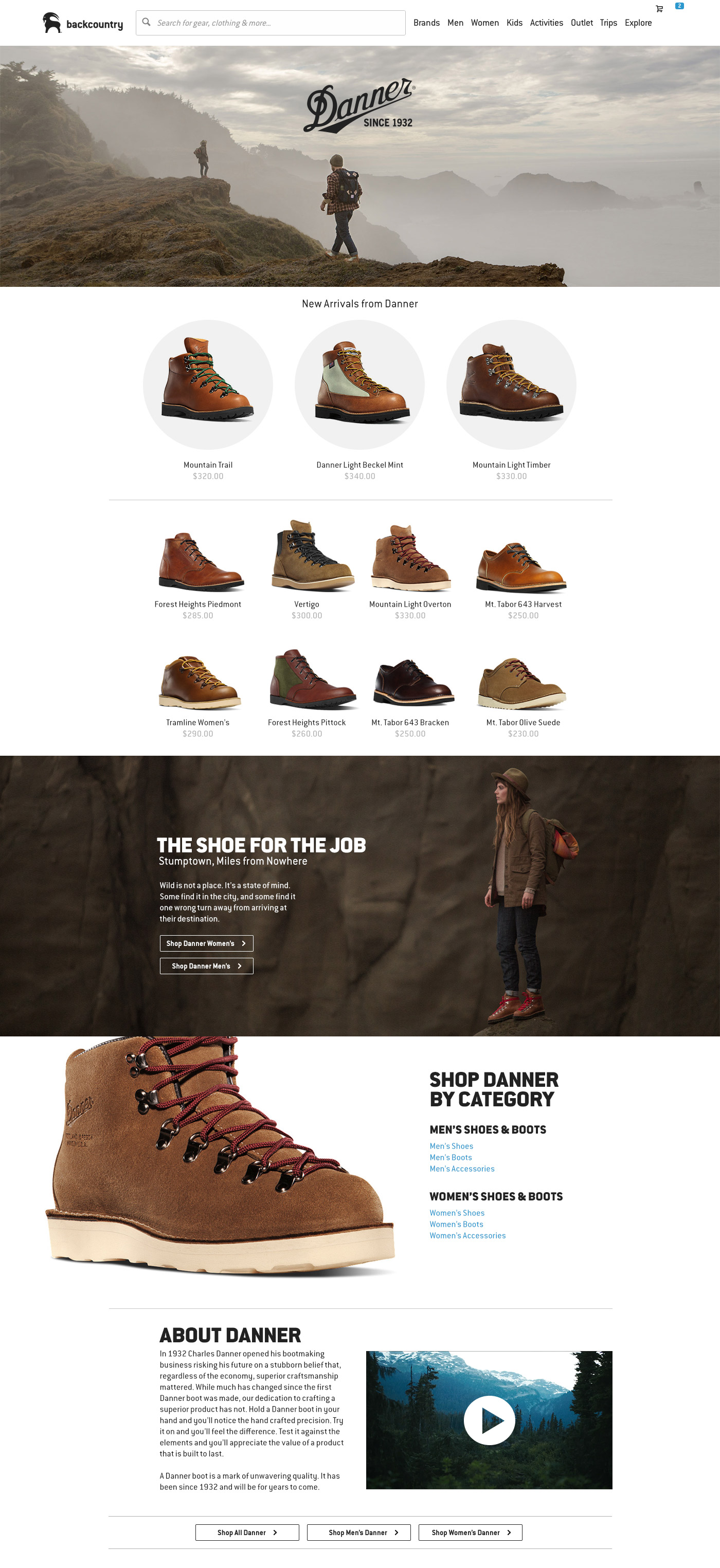 Backcountry.com Danner Brand Page