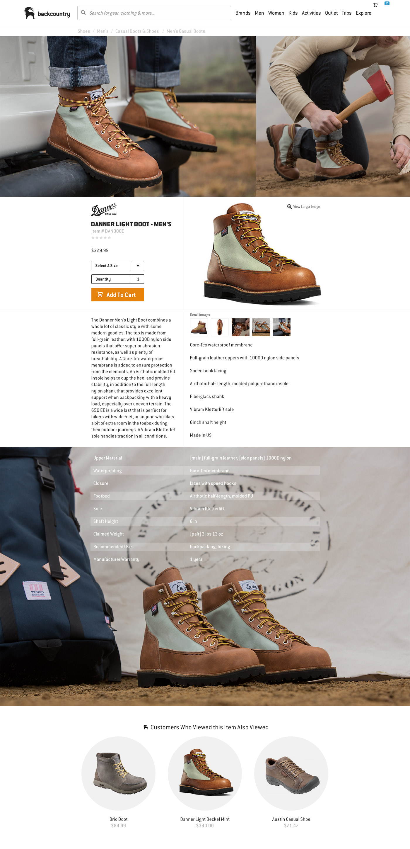 Backcountry.com Danner Product Detail Page