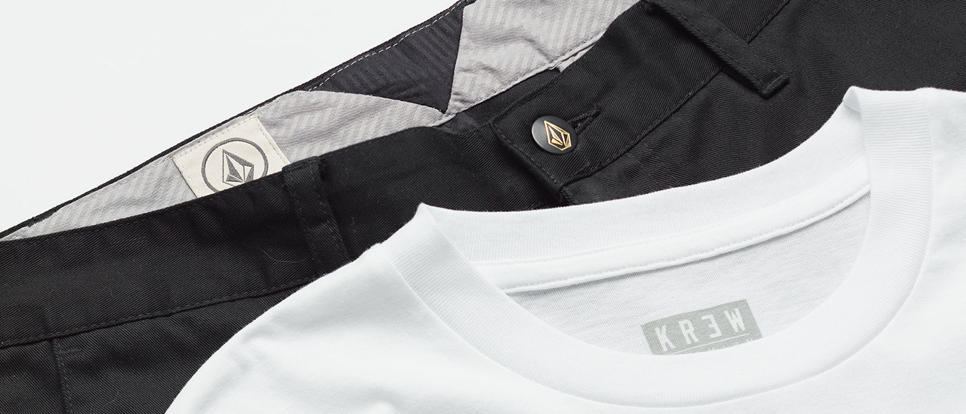 Volcom & KR3W T shirt, shirts and pants promotion